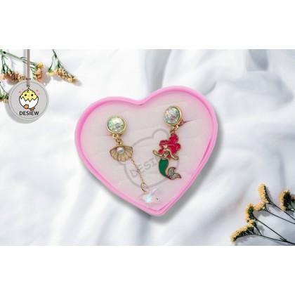Korean Ariel Mermaid Disney Pearl Stud Clip Cartoon Earring For Girls Accessories Subang Anting-Anting Birthday Accessories Gifts Hadiah