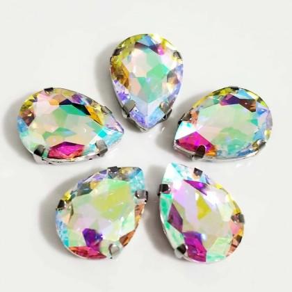 10pcs 13x18mm Teardrop Clear Crystal Stone
