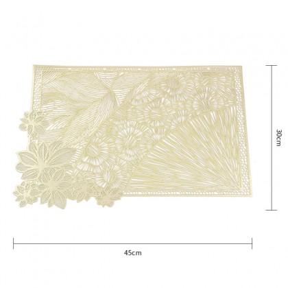Rectangle Table Mat Europian Style Flowers Design PVC Pelapik Alas Meja For Dining Table Decoration 欧式烫金长方形花卉餐垫