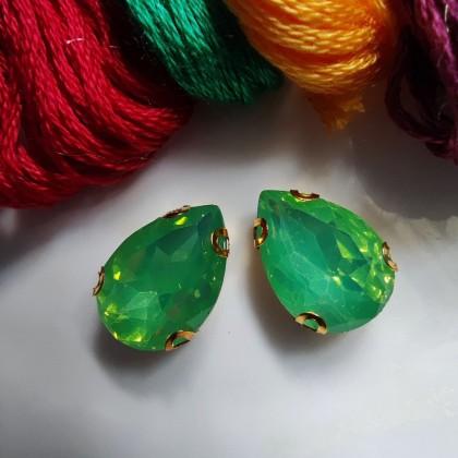 10pcs 10x14mm Teardrop Opal Jelly Crystal Chunky Bead Glass Montee Stone Sew On Batu Manik Kristal Permata Jahit