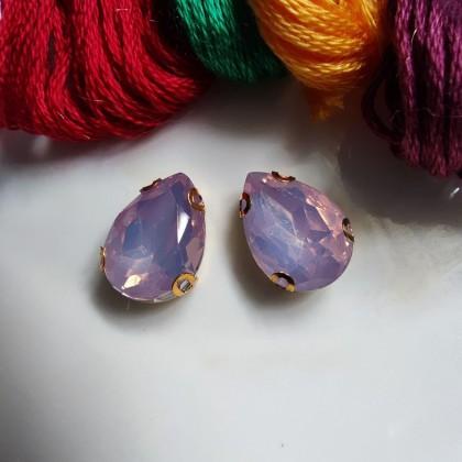 10pcs 13x18mm Teardrop Opal Jelly Crystal Chunky Bead Glass Montee Stone Sew On Batu Manik Kristal Permata Jahit