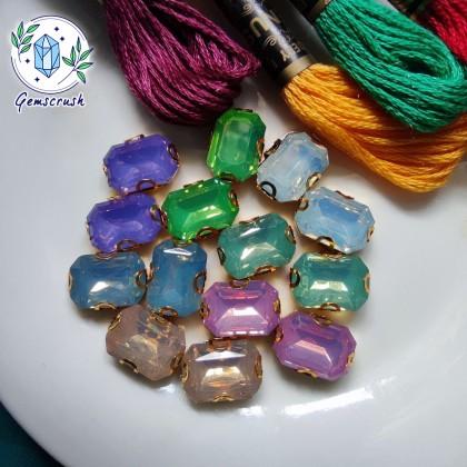 10pcs 10x14mm Rectangle Opal Jelly Crystal Chunky Bead Glass Montee Stones Sew On Batu Manik Kristal Permata Jahit