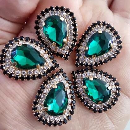 5pcs 10x14mm Teardrop 2 Layer Crystal Diamond Stone