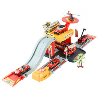 Parking Lot Car Park Track Building Fire Station Military Camp Construction Building Pretend Play Toy