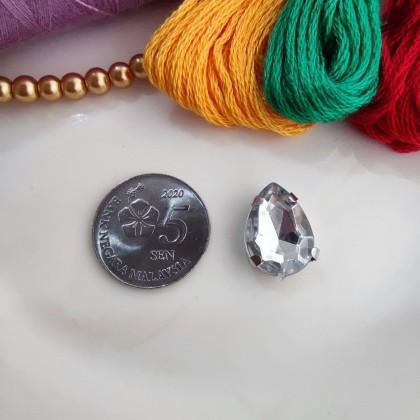 10x14mm Teardrop White Stone Clear Crystal