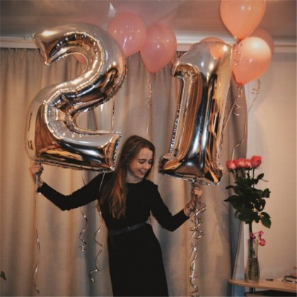 16Inches Rose Gold 32Inches Rainbow Giant Number Party Balloon Foil Balloon For Happy Birthday Party Decoration Party Hari Jadi Belon Nombor