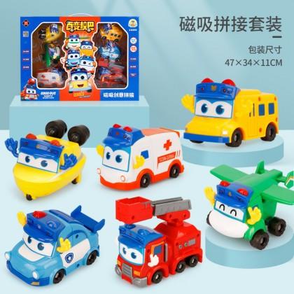 Go Go Bus Police Toy Car Magnetic Deformation Robot