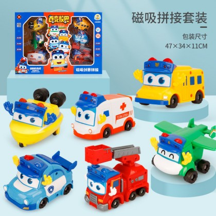Go Go Bus Fire Truck Toy Car Magnetic Deformation Robot