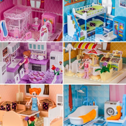 Kids Girls Bungalow House Toys Set