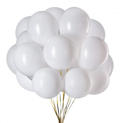 10 Inch 100 Pcs White Latex Balloon Helium Quality Biogradable Round Shape Strong And Thick For Parties Celebration Fun Events