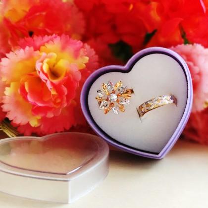 2 Holes Heartshape Ring Earring Engagement Wedding Box Kotak Hantaran Cincin Subang Tunang Nikah